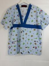 Beverly Hills Uniforms Women's Size Large Butterflies and puppies Scrub Top Blue