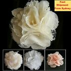 Lace flower for invitation or Craft or hair clip White ivory black peach