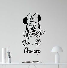 Personalized Minnie Mouse Wall Decal Custom Name Nursery Vinyl Sticker 107hor