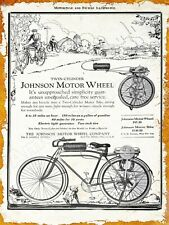 1920 Johnson Motor Wheel Co. Bicycle Motor Attachment New Metal Sign: South Bend