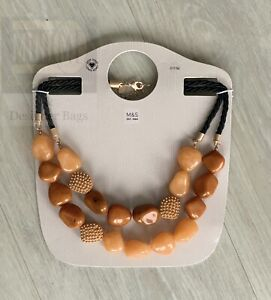 M&S Marks And Spencer's Statement Resin Link Mustard Dangle Necklace NEW