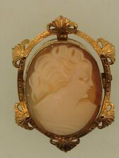 ART NOUVEAU AMCO GOLD FILLED ARTIST SIGNED CARVED SHELL CAMEO PIN/BROOCH!