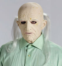 Old Man Mask Bald Head Costume Wrinkled Latex Skin Long Gray Hair Adult Mens NEW