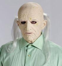 Old Man Mask Bald Head Costume Wrinkled Latex Skin Long Gray Hair Adult Mens NEW