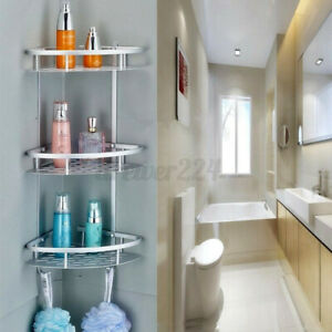Bathroom Shower Corner Aluminum Shelf Caddy Rack Organizer Holder Tier 2/3