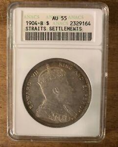 1 Dollar, 1904-B Edward VII,Straits Settlements ANACS- AU 55