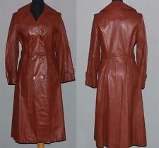 VTG Bonita Double Breasted LEATHER Belted Trench Spy Coat Flare Skirt W-9/10 EXC