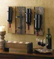 Wine Rack Wall Decor Bottle Holder Wood with Iron Rings Bar Rustic Storage