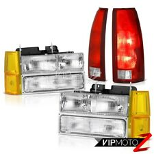 94-98 GMC C/K Truck Clear Chrome Headlamps Bumper Red Taillights Factory Style