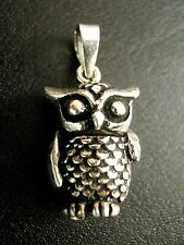 Sterling Silver 3 dimensional Chunky Wise Old Owl Bird Articulated Charm Pendant