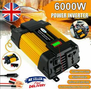 6000W Peak Car Power Inverter 2USB Port DC 12V to AC 240V Converter Sine Wave UK