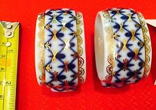 LFZ Lomonosov Porcelain Cobalt Net Napkin Ring Russian Blue White Gold Authentic