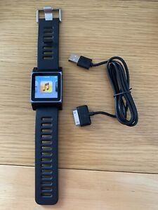 ipod nano 6th generation 8gb (blue) with black rubber watch strap bundle