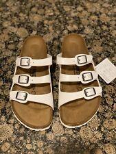 Women's Birkenstock Florida White 3 Strap Sandals EU37 (Size 6-6.5)