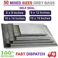 More details for 50 mixed sizes mailing bags grey strong parcel postage plastic post poly mailer