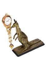 19th century Antique Kangaroo Mystery Swinger Clock-Patinated Bronze