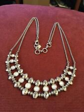 """Lucky Brand 19"""" Bid Necklace With White Stones And Crystal Accents"""