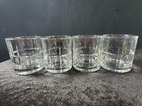 Anchor Hocking Set of 4 Tartan Clear Glass Short Rock Whiskey Tumblers VTG