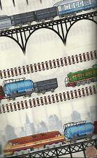 Train bridges stipe fabric Timeless Treasures