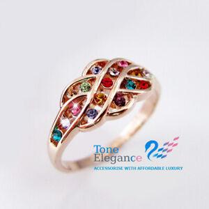 9k 9ct  rose gold GF solid women engagement wedding ring made with swarovski