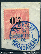 MADAGASCAR TYPE GROUPE N° 48 CACHET BLEU DE TAMATAVE 09/06/1908 SUR FRAGMENT