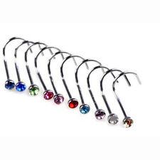 20pcs Lots Rhinestone Nose Studs Screw Ring Bone Bar Pin Body Piercing Colored