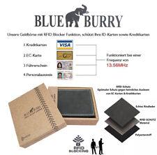 ★Herren Geldbörse RFID Portmonee Blue Burry Lederbörse NFC Geldbeutel Schwarz★