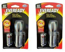 EVEREADY Metal Light EVML33A-S Flashlight w/ 3 AAA Batteries Included X 2 Bundle