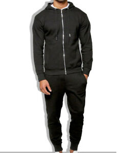 Mens New Slim fit Full Tracksuit Set Pique Cotton Hooded Track Suit Jogging