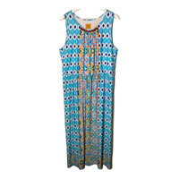 Ruby Rd Womens Sleeveless Maxi Dress Long Scoop Neck Blue Print Stretch Size XL