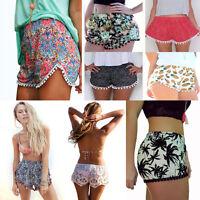 High Waist Women Ladies Tassel Floral Print Casual Gym Beach Summer Shorts Pants
