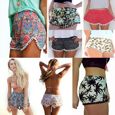 High Waist Women Ladies Tassel Floral Print Casual Gym Beach Summer Shorts Pants