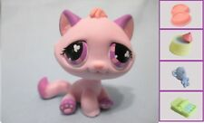 Littlest Pet Shop Pink Purple Tabby #576 Kitten Cat Authentic +1 FREE  Accessory