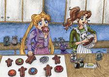 Sailor Moon Cookie Time fanart Canvas print 8x10 Jupiter Makoto Usagi