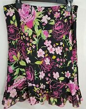 Worthington Petite Floral Chiffon Skirt Ruffle Trim Sz 14P Black Pink EUC