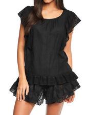 New Figleaves Lace Insert Black Nightdress  PJS Pyjamas Nightwear UK 12-14 DD34