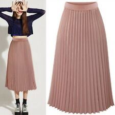US Women Chiffon Pleated Skirt Elastic Waist Double Layer Casual Long Midi Skirt