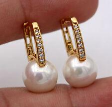 18K Gold Filled -  Zircon Pearl Gemstone Topaz Bridal Ball Women Hoop Earrings