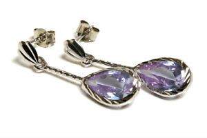 9ct White Gold CZ earrings Lilac Teardrop Gift Boxed Made in UK Birthday gift