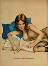 Vintage Alberto Vargas Girl Brunette Female Nude Stockings Pin Up Art Print
