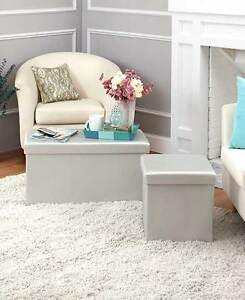 Glamour Metallic Storage Silver Cube Ottoman Footstools Gold Bench Chic Decor