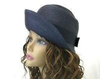 Vtg Women's Navy Blue Straw Hat 1920s 30s 40s Art Deco Train Cloche Bucket Small