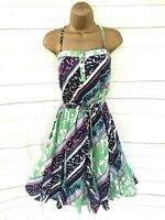 Monsoon Dress Strappy Blue Green Pink White Summer Dress Lined Summer Sun UK 12