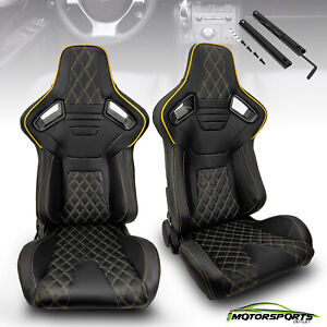 2 x Reclinable Black PVC Main Yellow Side Left&Right Racing Bucket Seats Slider