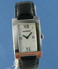 Montblanc 36128 Profile Watch Diamond MOP Dial Black Leather Strap Ladies $2360