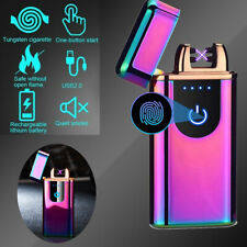 Dual Arc Electric Usb Lighter Rechargeable Plasma Flameless Windproof Cigarette