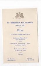 MENU  Dorchester Hotel 1952 Commonwealth Fund Fellowships