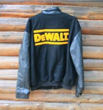 Men's DeWalt Tools Black Varsity Jacket Genuine Leather Adult Size XL North End
