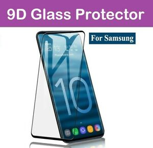 For Samsung Galaxy S10 S20 S9 Tempered Glass Screen Protector Film Curve - black