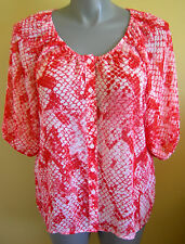 Ladies Casual Short Sleeve Peasant Blouse Shirt Top Red Snakeskin Millers Size14
